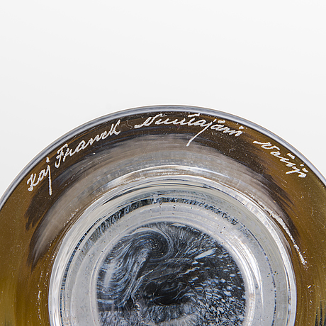 Kaj franck, pokaler, 2 st, glas, signerade kaj franck nuutajärvi notsjö.