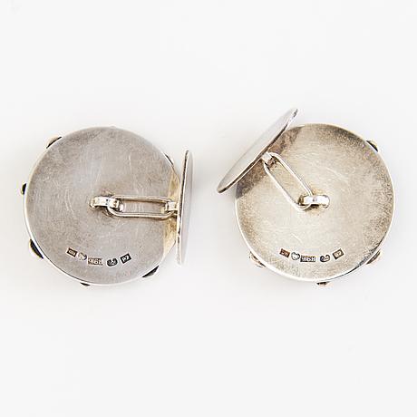 Saara hopea, manschettknappar, ett par, silver. borgå, finland 1968.