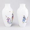 A pair of chinese famille rose vases, 20th century, in the style of wang qi.