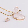 A 1950s three piece jewellery set with 14k gold and rose quartz