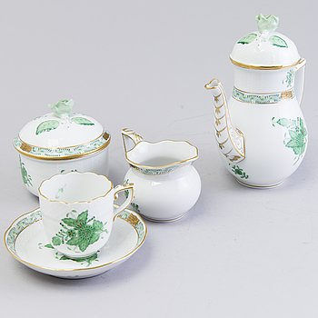 A 9-piece espresso coffee set, porcelain, Herend, Hungary, the latter half of 20th century.