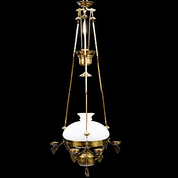 A Jugend style brass paraffin ceiling light from around 1900.
