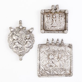 3 PLAQUE-AMULETS, silver, Northern India before 1960's.