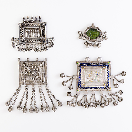 Four pendants, silver, north india before 1960's