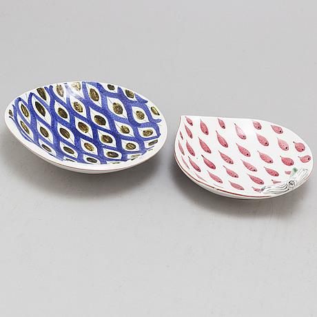 Stig lindberg, two faiance dishes, from gustavsberg studio