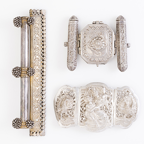 Buckle, pendant, textile holder, silver and gold plated silver,  india before 1960's.