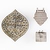 Two silver plaque amulets, silver and brass and  brass stamp, north india, before 1960's.