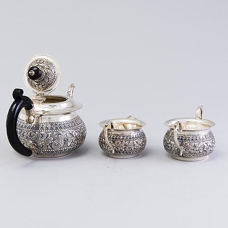 Teekalusto, 3 osaa, hopeaa, intia, 1900 luku