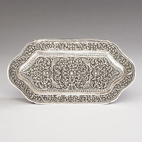 A 19th-century silver box, kandy, india. finnish control marks, borgå 1974.