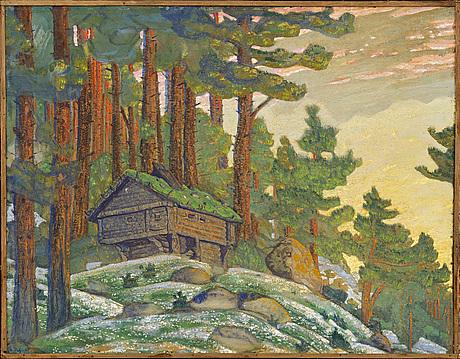 Nicolai konstantinovitch roerich, cottage in twilight.
