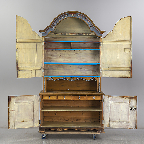 A swedish cupboard, circa 1900, some parts partly circa 1800