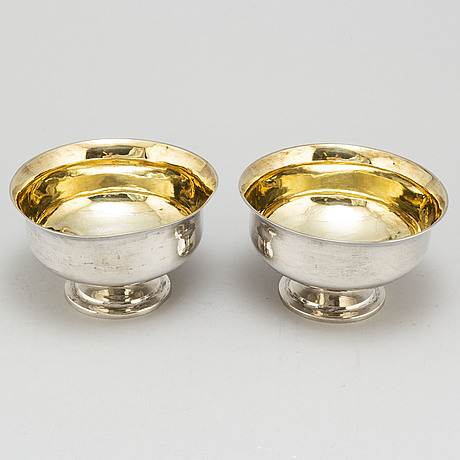 Johan gustaf Åkerman, a pair of parcel gilt silver gravy bowls, stockholm, 1827.