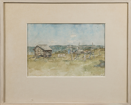 Per stenius, watercolour, signed and dated 1957