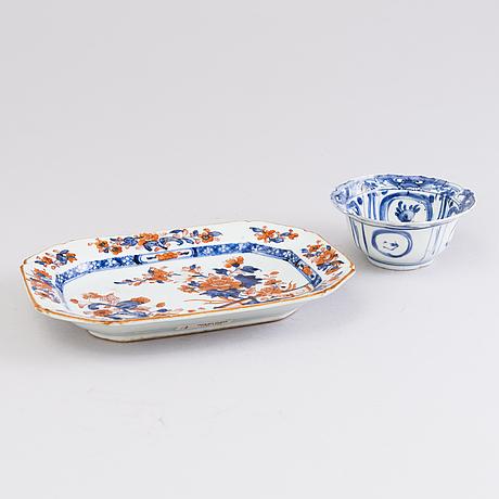 Fat och kopp, porslin, kina 1500-1700-tal.