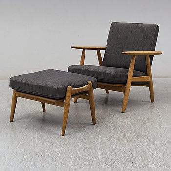 "An ""GE-240""/""Cigarren"" easy chair and stool by Hans J Wegner, Getama Denmark 1950-60s."