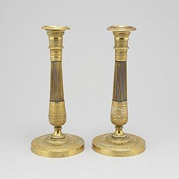 LJUSSTAKAR, ett par, Empire. Frankrike, 1800-talets första hälft.