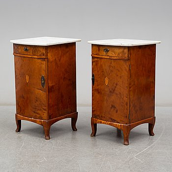 A pair of bedside tables, early 20th century.