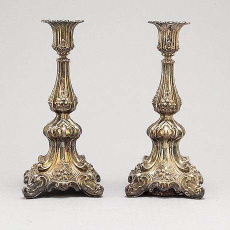 A pair of silver candlesticks, swedish import mark