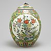 A chinese famille verte jar with cover, 20th century