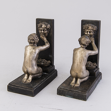 A pair of Émile joseph nestor carlier bookends, paris 1920s