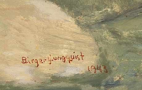Birger ljungquist, oil on panel, signed and dated 1943