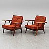 Hans j wegner, a pair of ge 240 easy chairs, mid 20th century
