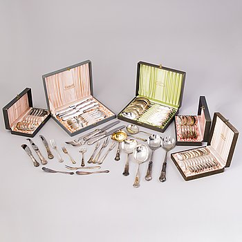 A 101-piece set of 'Chippendale' silver cutlery,  Finland.