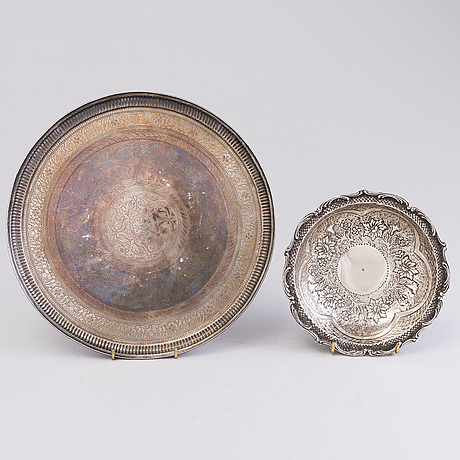 Tray, pitcher and bowl, silver, middle east 20th century