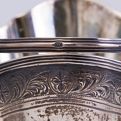 """Sokerikko ja """"pap boat"""", hopeaa, englanti, lontoo 1800 luvun alku"""