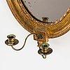 Spegellampett, för två ljus,  av georg lindberg, spegelfabrikör i stockholm 1791 1804, sengustaviansk, omkring år 1800