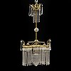 A brass and glass chandelier, early 20th century