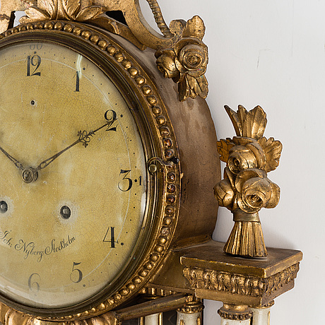 A late gustavian wall clock by johan nyberg (master in stockholm 1787 1801)
