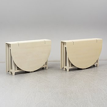"A pair of Swedish painted flap tables ""Bergslagen"" from IKEA's 18th century collection."