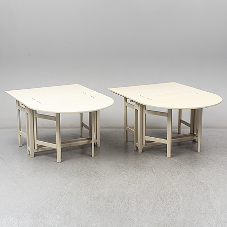 "A pair of swedish painted flap tables ""bergslagen"" from ikea's 18th century collection"