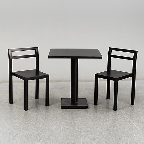 Poul christiansen, a 'non' table with two chairs by komplot design for källmo