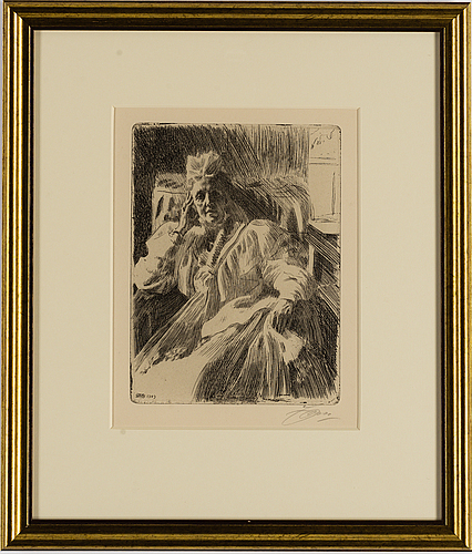 Anders zorn, etching, signed zorn in pencil