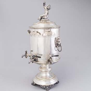 Late 19th Century Swedish Nickel Silver Samovar for Vodka.