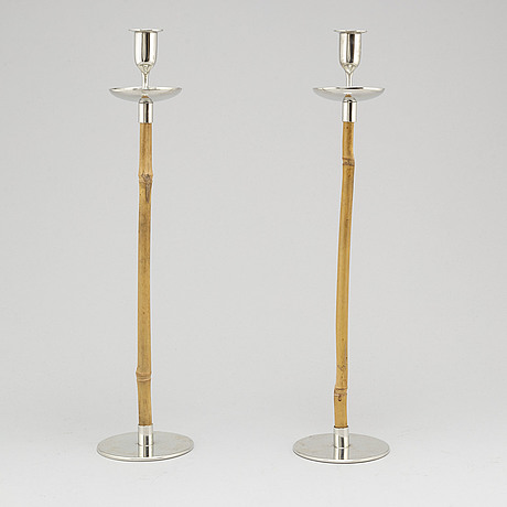 Josef frank, a pair of pewter and bamboo candle holders, from firma svenskt tenn, 2016