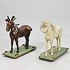 Puuhevosia, 2 kpl, 1900-luvun alku.