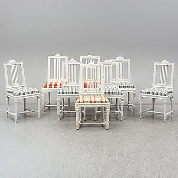 8 gustavian style chairs, (5+2+1), 19th century.