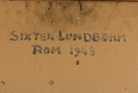 Sixten lundbohm, oil on paper panel, signed. dated rom 1948 verso