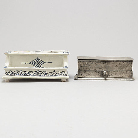Two inkstands, one of faience, 18th century possibly rouen, one of pewter, 18th/19th century.