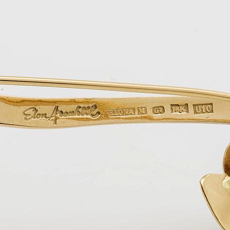 Elon arenhill brooch 18k gold w 1 cultured pearl approx 10 mm, malmö 1994