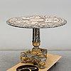 A modern italian marble veneered and parcel gilt centre table