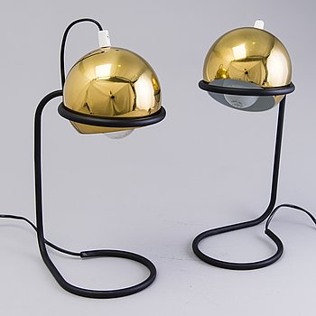 A PAIR OF TABLE LAMPS, a pair of 1970s 'Polaris' table lamps for Aris, Arisuo Oy, Finland.