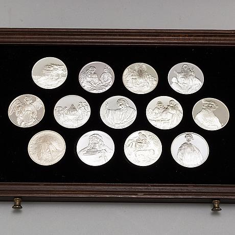 50 sterling silver medals, 'rembrandt i silver', franklin mint ab, 1974