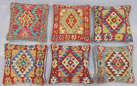Six kilim cushions, ca 50 x 50 cm
