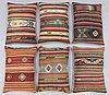 Six kilim cushions, around 70 x 50 cm