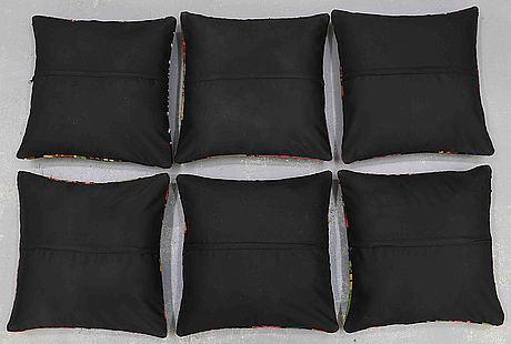 6 bessarabian, kilim cushions, around 50 x 50 cm.