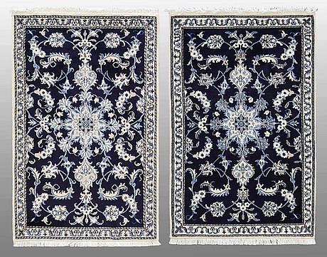 Two nain rugs, ca 138 x 90 resp 138 x 90 cm